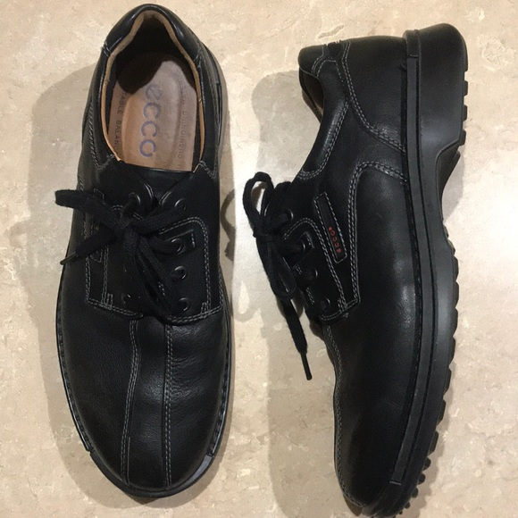 Ecco Leather Lace up Shoes Light Shock Point Black